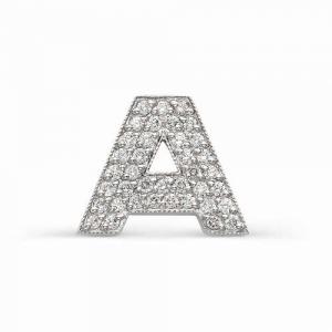 Подвеска виде буквы «А» из белого золота с бриллиантами