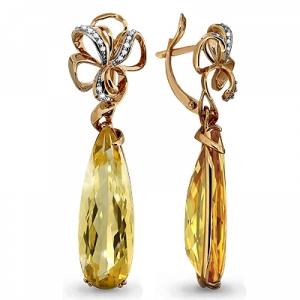 Золотые серьги висячие с цитрином, бриллиантом