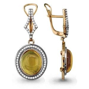 Золотые серьги висячие с цитрином, фианитом