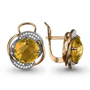 Золотые серьги с цитрином, фианитом