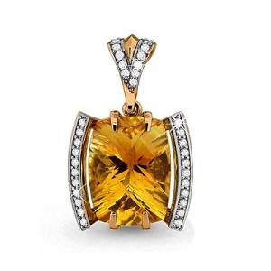 Золотая подвеска с цитрином, фианитом