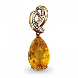 Золотая подвеска с цитрином, бриллиантом