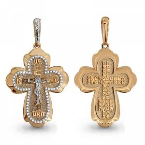 Мужской золотой крест с фианитом