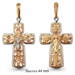 Мужской золотой крестик с фианитом