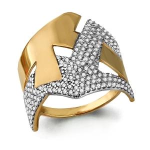 Золотое кольцо Геометрия с фианитом