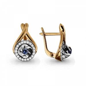 Золотые серьги с сапфиром, бриллиантом