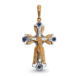 Мужской золотой крестик с сапфиром