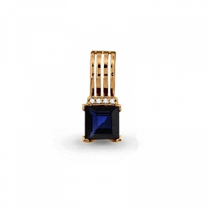 Золотая подвеска с сапфиром, бриллиантом