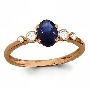 Золотое кольцо с сапфиром, бриллиантом