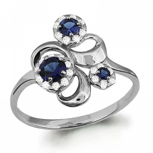 Золотое кольцо Растение с сапфиром, бриллиантом