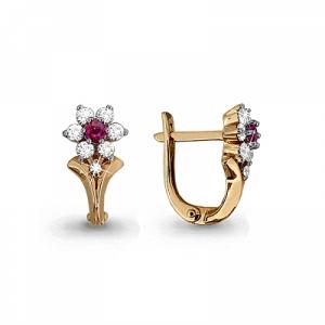 Золотые серьги Цветы с рубином, бриллиантом