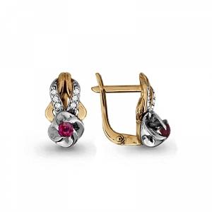 Золотые серьги с рубином, бриллиантом