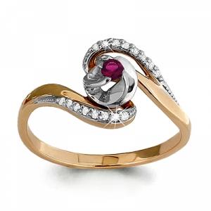 Золотое кольцо с рубином, бриллиантом