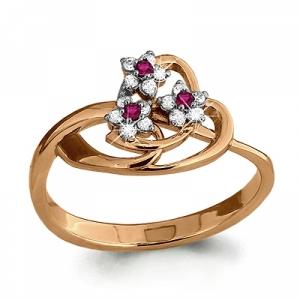 Золотое кольцо Цветочки с рубином, бриллиантом