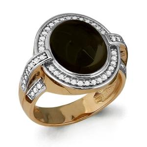 Золотое кольцо с раухтопазом, фианитом