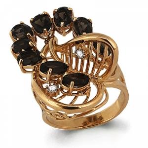 Золотое кольцо Лист с раухтопазом, фианитом