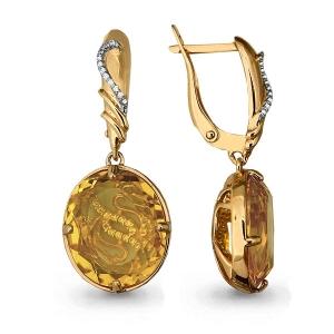 Золотые серьги висячие с кварцем, фианитом