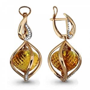 Золотые серьги висячие с кварцем, бриллиантом