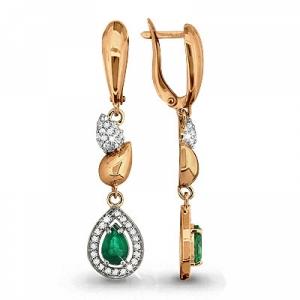 Золотые серьги висячие с изумрудом, бриллиантом