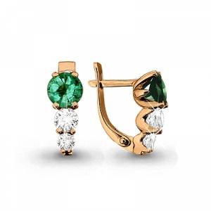 Золотые серьги с изумрудом, бриллиантом