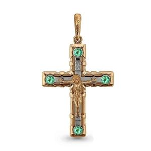Золотой крестик с изумрудом