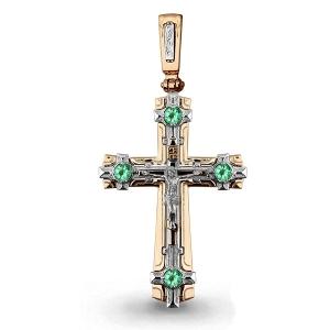 Мужской золотой крест с изумрудом