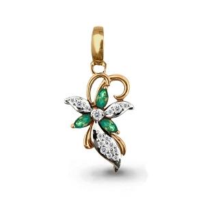 Золотая подвеска Цветок с изумрудом, бриллиантом