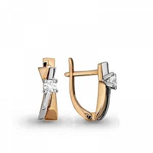 Золотые серьги с бриллиантом