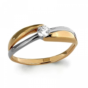 Помолвочное золотое кольцо с бриллиантом