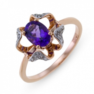 Золотое кольцо Цветок c аметистом и бриллиантами
