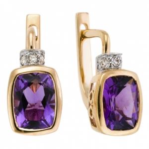 Золотые серьги c аметистами и бриллиантами