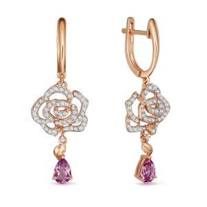 Золотые серьги Розы c аметистами и бриллиантами