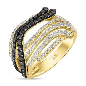 Кольцо из желтого золота c черными бриллиантами