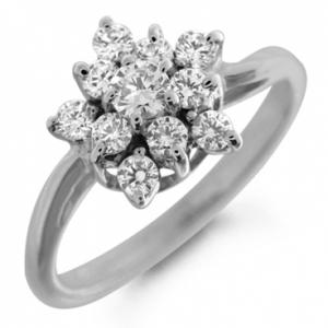 Золотое кольцо Снежинка c бриллиантами