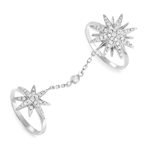 Кольцо Звезда из белого золота c бриллиантами