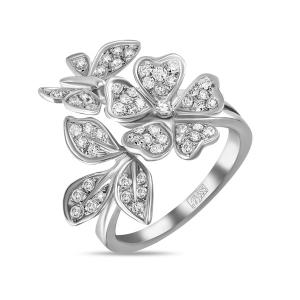 Кольцо Цветок из белого золота c бриллиантами