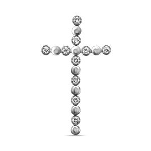 Крестик из белого золота c бриллиантами