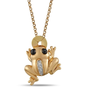 Золотая подвеска «Лягушка» c бриллиантами