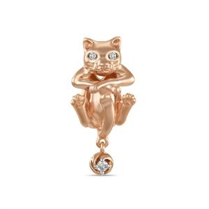 Золотая подвеска «Кот» c бриллиантами