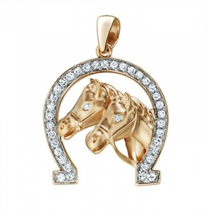 Золотая подвеска «Кони» c бриллиантами