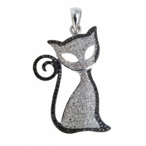 Подвеска «Кошка» из белого золота c бриллиантами