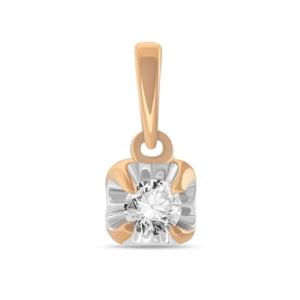 Золотая подвеска c бриллиантом Мой первый бриллиант
