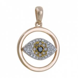 Золотая подвеска Глаз c бриллиантами Твоя удача
