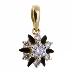 Золотая подвеска Цветок c бриллиантами