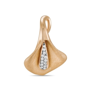 Золотая подвеска Орхидея c бриллиантами