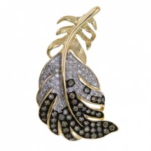 Золотая подвеска Перо c бриллиантами