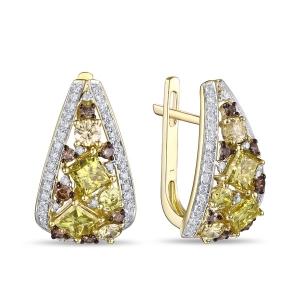Серьги из желтого золота c бриллиантами Брызги шампанского