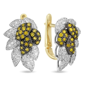 Серьги в виде листьев из желтого золота c бриллиантами Северное сияние
