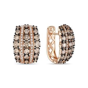 Золотые серьги c бриллиантами Эксклюзив