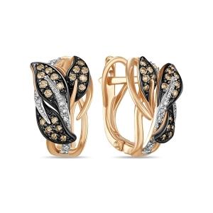 Золотые серьги Листья c бриллиантами